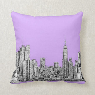 New York city in lilac pink Throw Pillow