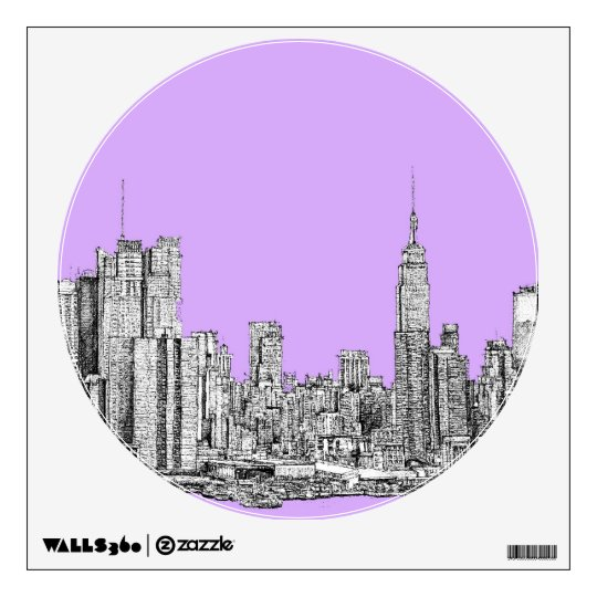 New York city in lilac pink Wall Sticker