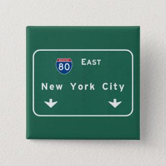 New York City Interstate Highway Freeway Road Sig Pinback Button