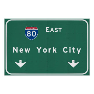 New York City Interstate Highway Freeway Road Sign