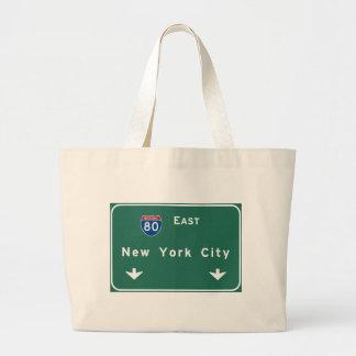 New York City Interstate Highway Freeway Road Sign Jumbo Tote Bag
