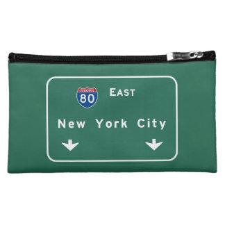 New York City Interstate Highway Freeway Road Sign Makeup Bag