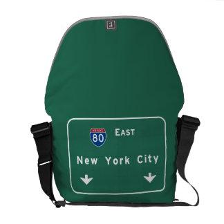 New York City Interstate Highway Freeway Road Sign Messenger Bag