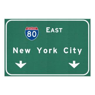 New York City Interstate Highway Freeway Road Sign Photo Print