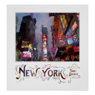 New York City Late Night Times Square Watercolor Poster