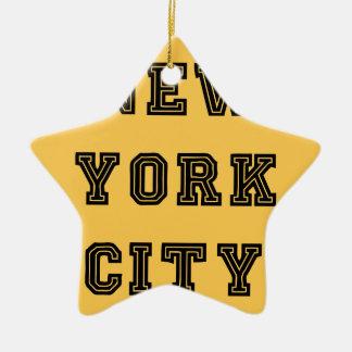 New York City Lettering Adorno Navideño De Cerámica En Forma De Estrella