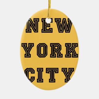 New York City Lettering Adorno Navideño Ovalado De Cerámica