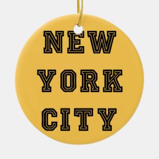 New York City Lettering Adorno Navideño Redondo De Cerámica
