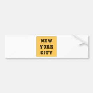 New York City Lettering Car Bumper Sticker