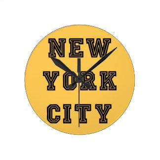 New York City Lettering Reloj Redondo Mediano
