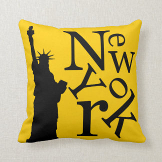 New York City Liberty Black Typography pillow