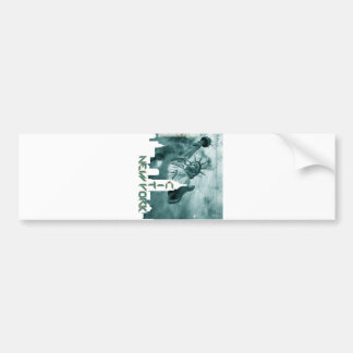 New York City Liberty Skyline Bumper Sticker
