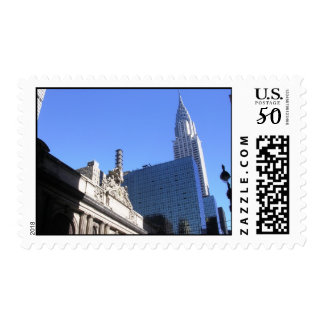 New York City Library and the Chrylser Building Postage