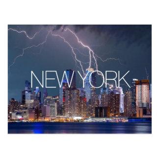 New York City lightning skyline travel photograph Postcard