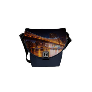 New York City Lights - Night Cityscape Courier Bags