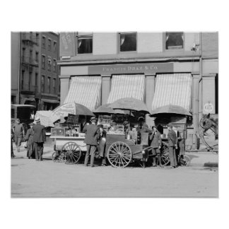 New York City Lunch Carts, 1906. Vintage Photo Poster