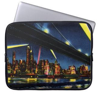 New York City Manhattan at Night Laptop Sleeves
