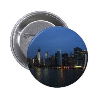 New York City Manhattan Night Skyline Pins