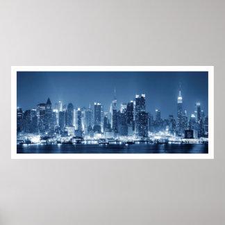 New-York City Manhattan Night Skyline View Poster