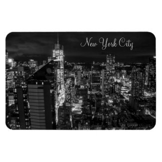 New York City Manhattan Skyline at Night Magnet