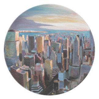 New York City  Manhattan Skyline In Warm Sunlight Dinner Plates