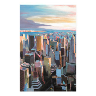 New York City  Manhattan Skyline In Warm Sunlight Customized Stationery
