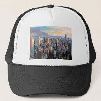 New York City  Manhattan Skyline In Warm Sunlight Trucker Hat