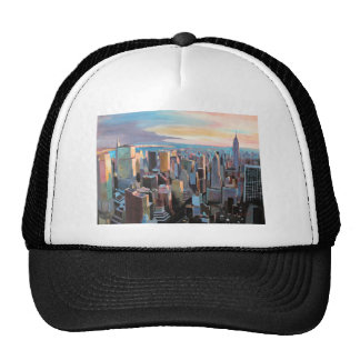 New York City  Manhattan Skyline In Warm Sunlight Trucker Hat