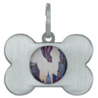New York City - Manhattan Stars And Stripes Pet ID Tag