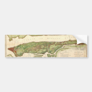 New York City Map During Revolutionary Map 1878 Car Bumper Sticker