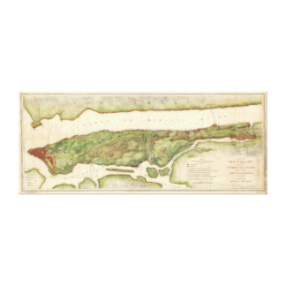 New York City Map During Revolutionary Map 1878 Canvas Print