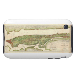 New York City Map During Revolutionary Map 1878 iPhone 3 Tough Cases