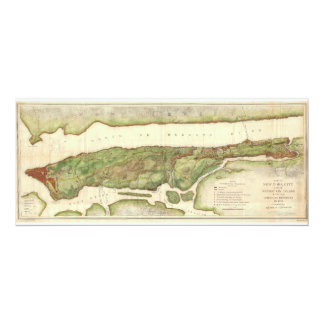 New York City Map During Revolutionary Map 1878 4x9.25 Paper Invitation Card
