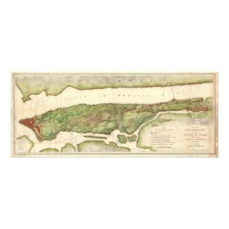 New York City Map During Revolutionary Map 1878 Photo Print