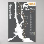 New York City Marathon Map Poster