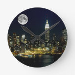 New York City Mooned Round Clock