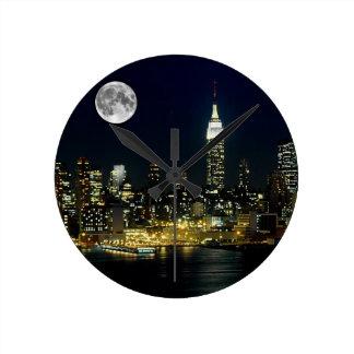 New York City Mooned Round Clock