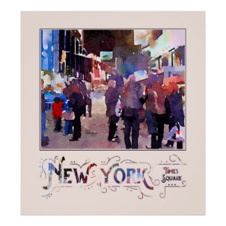 New York City Mounted Police Officers Watercolor Poster