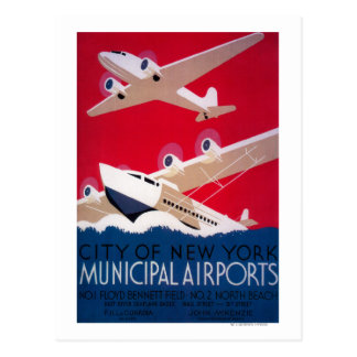 New York City Municipal Airport Vintage Poster Postcard
