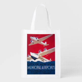 New York City Municipal Airport Vintage Poster Grocery Bags