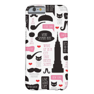 New York City mustache vintage pattern Barely There iPhone 6 Case