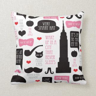New York City mustache vintage pattern pillow