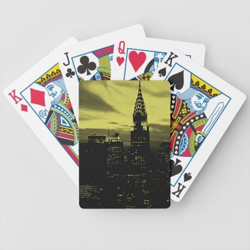 New York City negro amarillo punteado Cartas De Juego