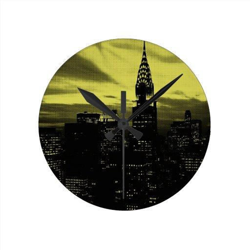 New York City negro amarillo punteado Reloj De Pared