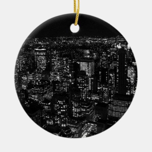 New York City negro y blanco Ornamento Para Reyes Magos