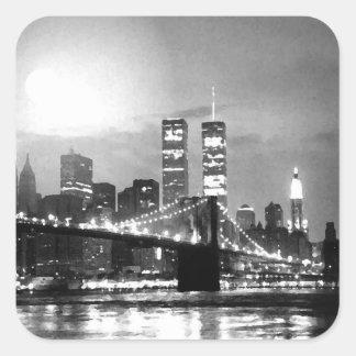 New York City negro y blanco en el cuadrado Sticke Pegatina Cuadrada