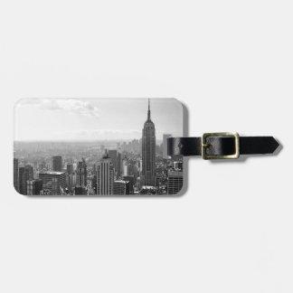 New York City negro y blanco Etiqueta De Equipaje