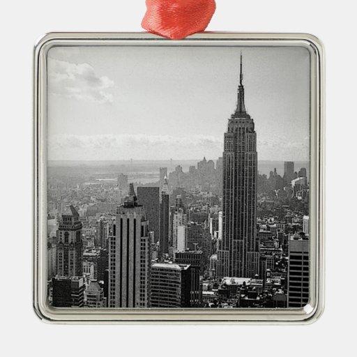 New York City negro y blanco Ornamentos De Navidad