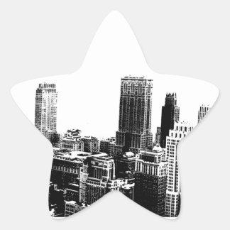 New York City negro y blanco Pegatinas Forma De Estrella Personalizadas