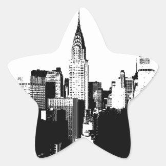 New York City negro y blanco Calcomanías Forma De Estrella